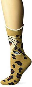 Women's Crew Socks K Bell Wide Mouth Leopard (9-11)