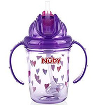 Baby Feeding Nuby 2-Handle No-Spill Thin Flip-It w/360 weighted Hearts/Purple 80322
