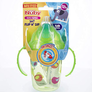 Baby Feeding Nuby 2-Handle Printed No-Spill Thin Flip-It w/360 weighted Straw Cup 80309