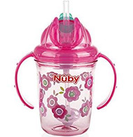 Baby Feeding Nuby 2-Handle No-Spill Thin Flip-It w/360 weighted Flowers/Pink 80320