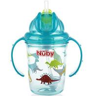 Baby Feeding Nuby 2-Handle No-Spill Thin Flip-It w/360 weighted Aqua Dinosaurs 80310