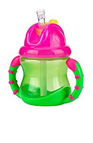 Baby Feeding Nuby 2 Handle Flip N' Sip Cup 8oz (Pink/Green) 92554
