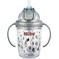 Baby Feeding Nuby 2-Handle No-Spill Thin Flip-It w/360 weighted Raindrops/Grey 80321