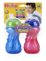 Baby Feeding Nuby No-Spill Easy Grip Cup 10oz (Blue/Red 2Pk) 92546