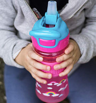 Baby Feeding Nuby Push Button Flip-it Soft Spout on the Go Cup Pink Rainbow 80259