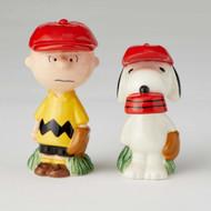 Salt & Paper Shaker Peanuts CB & Snoopy Baseball New 6002277