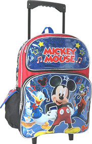 Large Rolling Backpack Disney Mickey Mouse Shiny Blue Group 002152