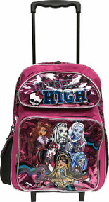 Large Rolling Backpack Monster High Shiny Pink Group 136479
