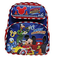 "Small Backpack Disney Mickey Mouse Roadster Racers Red/Blue 12"" Bag 002879"