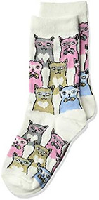 Kid's Crew Socks K Bell Kid's Smarty Cats White (7-8.5)