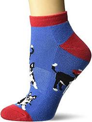 Kid's No Show Socks K Bell Golfing Dogs Blue (7-8.5)