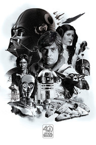 "Poster Studio B Star Wars 40th Montage 36x24"" Wall Art P4164"