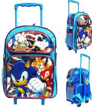 "Large Rolling Backpack Sonic The Hedgehog Blue16"" 191560-2"
