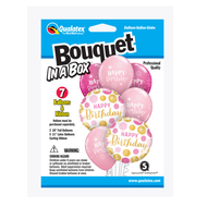 Party Supplies Pioneer 7 ct.Balloon Bouquet-in-a-Box Set Birthday Pink/Gold Dots 89063