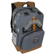 "Backpack Minecraft Pickaxe Adventure 17"" Gray j7650"