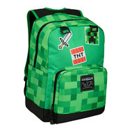 "Backpack Minecraft Survival Badges 17"" Green j9520"