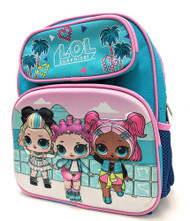 "Small Backpack LOL Surprise Vacation 3D Blue 12"" 176525-2"