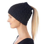 Beanie Cap Cable Stitch Pony tail be5pa3plw