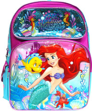 "Backpack The Little Mermaid Ariel Seahorse 16"" 000765"