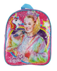 "Small Backpack Jojo Siwa Unicorn Reverse Sequin 12"" 005159"