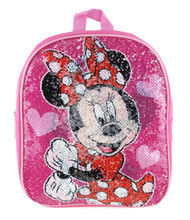 "Small Backpack Minnie Mouse Reverse Sequin Pink 12"" 005197"