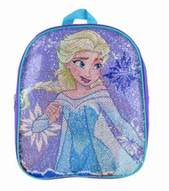 "Small Backpack Frozen Elsa & Anna Reverse Sequin 12"" 005203"