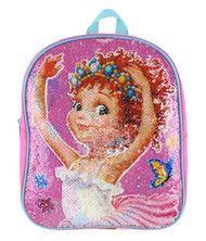 "Small Backpack Fancy Nancy Reverse Sequin Pink 12"" 005173"