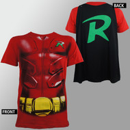 T-Shirt DC Comics Batman Robin Red Costume w/Cap Men Large
