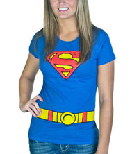 T-Shirt DC Comics Supergirl Blue Costume Juniors Medium