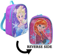 "Small Backpack Frozen Elsa & Anna w/Reversible Sequins 12"" FRSQ"