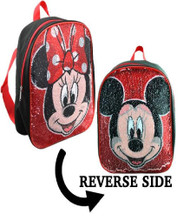 """Small Backpack Disney Mickey & Minnie Mouse w/Reversible Sequins 12"""" MOSQ"""