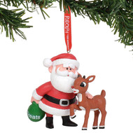 "Ornament Rudolph The Red-Nosed Reindeer & Santa Hanging 3"" 6011025"