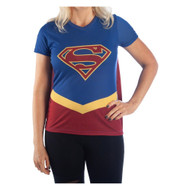 T-Shirt DC Comics Supergirl Blue w/Cape Costume Tee Juniors Small