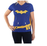 T-Shirt DC Comics Batgirl Blue w/Cape Costume Tee Juniors 2X-Large