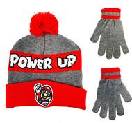 Beanie Cap Nintendo Super Mario Power Up Red/Gray Hat w/Glove Set 404113