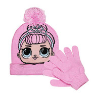Beanie Cap LOL Surprise Pink Pom Pom w/Glove 030510