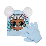 Beanie Cap LOL Surprise Light Blue Pom Pom w/Glove 030503