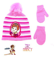 Beanie Cap Disney Fancy Nancy Pink Strap Hat w/Mitten Glove Set