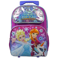 Large Rolling Backpack Disney Frozen Shiny Silver 875598'