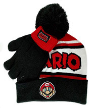 Beanie Cap Nintendo Super Mario BlackWhite Hat w/Glove Set 404106
