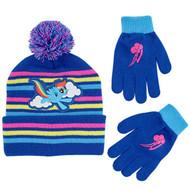 Beanie Cap My Little Pony Stripe Blue Gloves Set 374973