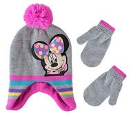 Beanie Cap Minnie Mouse Grey Stripe Mittens Set 403659