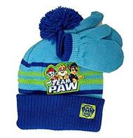 Beanie Cap Paw Patrol Team Paw Blue Mittens Set 403802