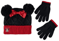 Beanie Cap Minnie Mouse Knitted Black/Red Mittens Set 403970