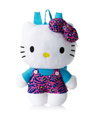 "Plush Backpack Hello Kitty Animal Print 16"" 705319"