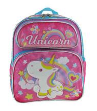 "Small Backpack Unicorn Rainbow & Hearts Pink 12"" 008037"