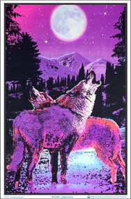 "Poster Timberwolves Poster Flocked Blacklight 23""x35"" Wall Art bl1980"