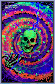 "Poster Spiral Skull Flocked Blacklight 23""x35"" Wall Art bl2004"