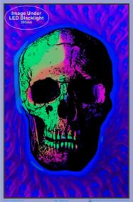 "Poster 24X36 Skull Trip Flocked Blacklight 24""x36"" Wall Art bl1891"
