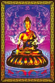 "Poster Buddah Tranquil Ohm Non Flock Blacklight 24""x36"" Wall Art b426"